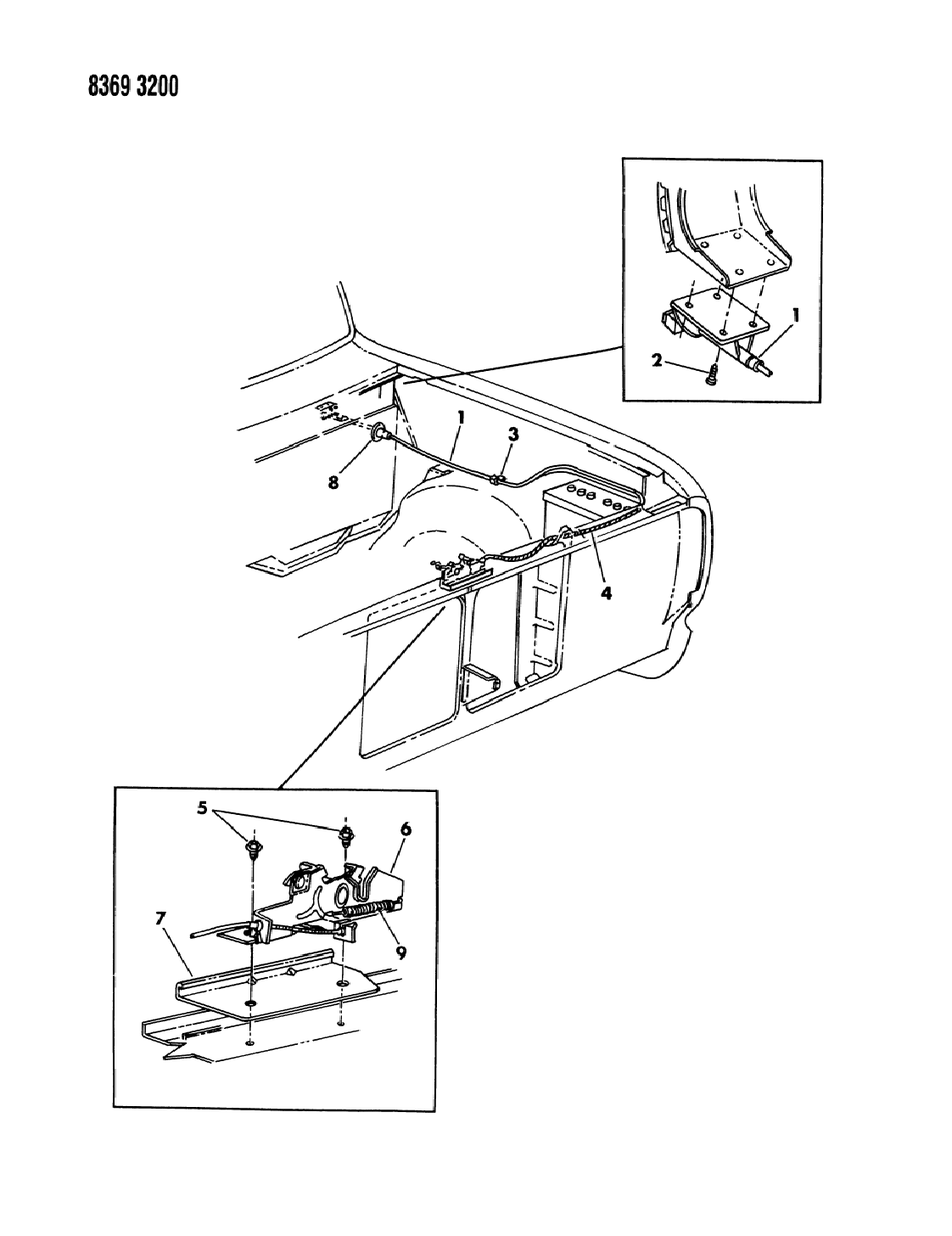 1988 Dodge W150 Hood Latch Release Assembly (In Cab) D1-8