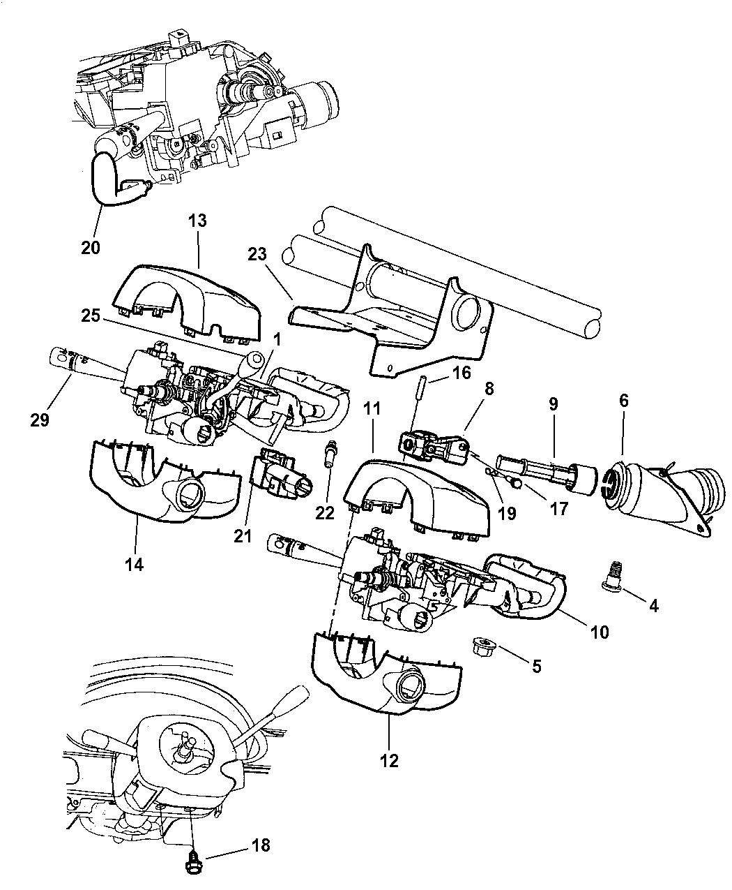 2000 Chrysler Concorde Column  Steering