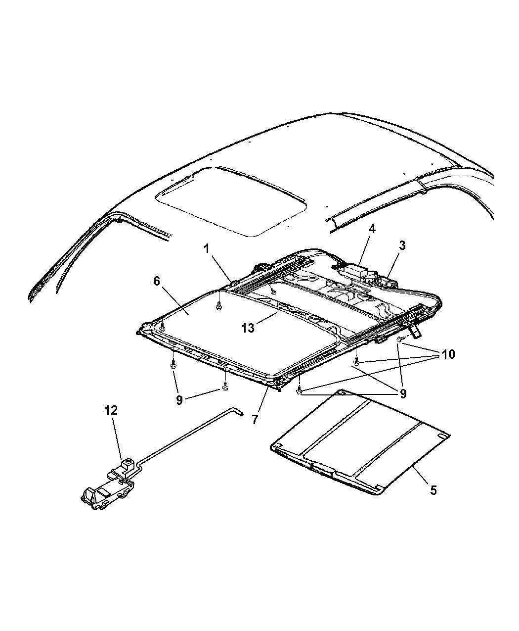 2002 chrysler pt cruiser sunroof mopar parts giant 2005 pt cruiser sunroof repair pt cruiser sunroof diagram #4