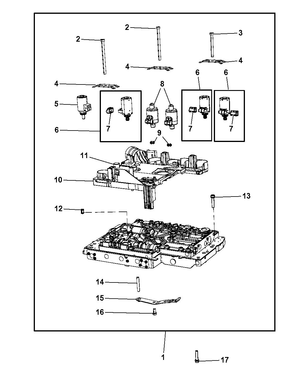 2013 jeep wrangler valve body & related parts