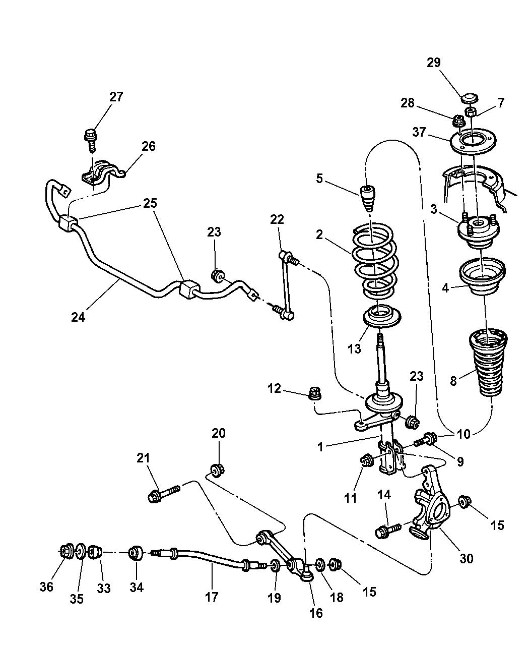2001 chrysler 300m suspension - front
