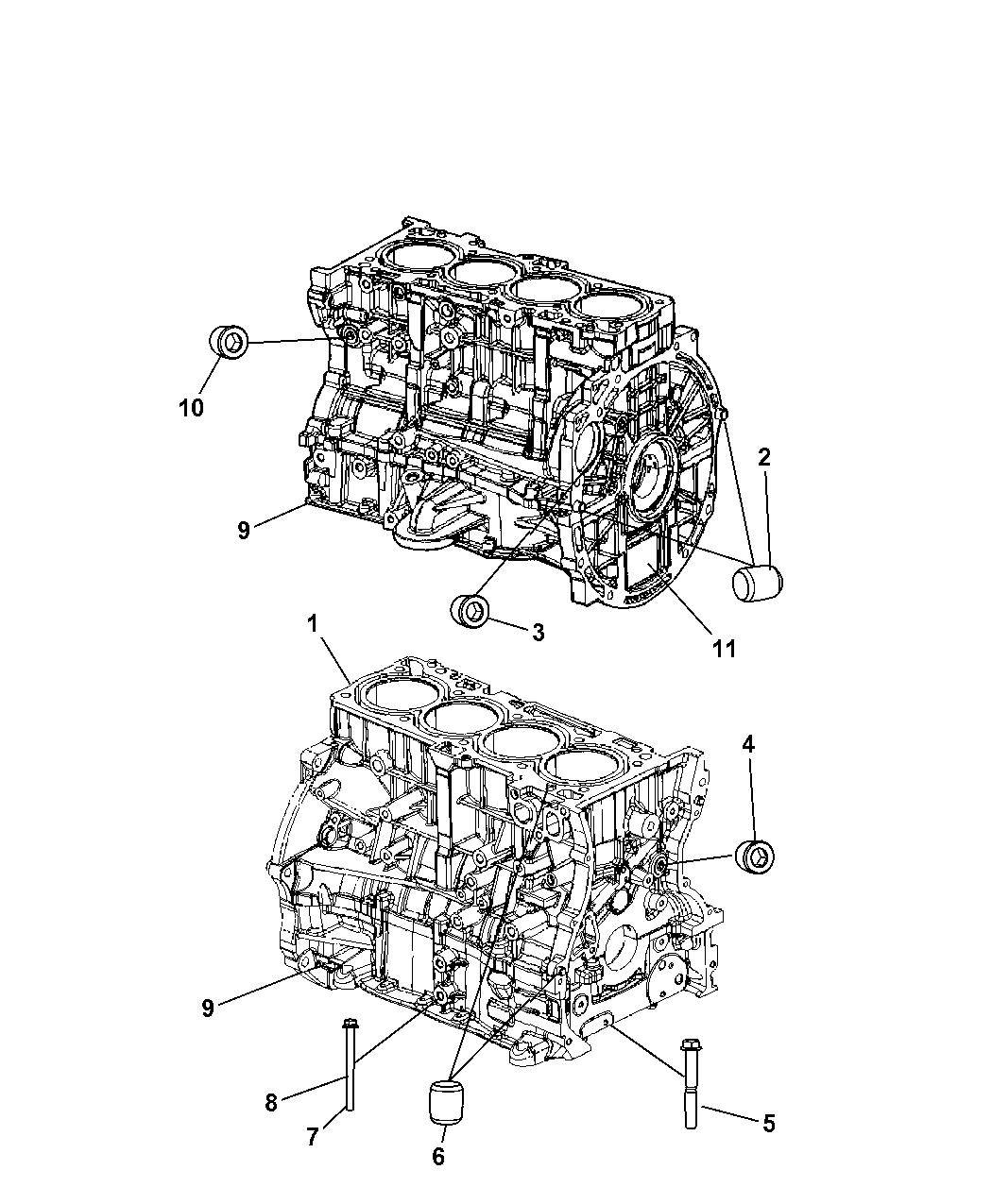 2008 Dodge Caliber Engine Cylinder Block And Hardware Diagram Thumbnail 2