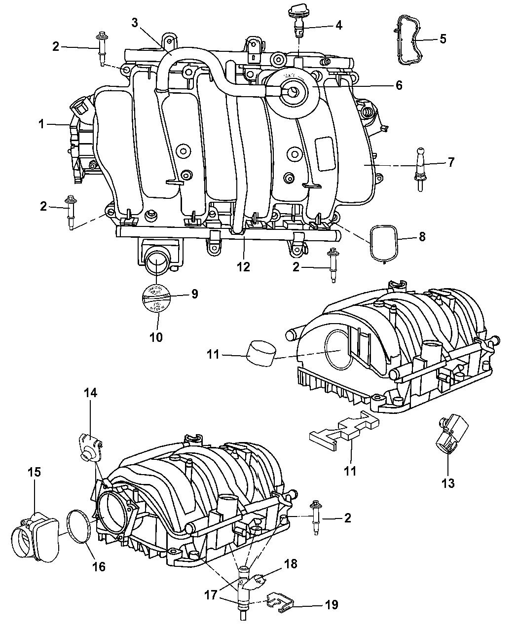 2008 Dodge Magnum Intake Manifold Mopar Parts Giant Starter Wiring Thumbnail 1