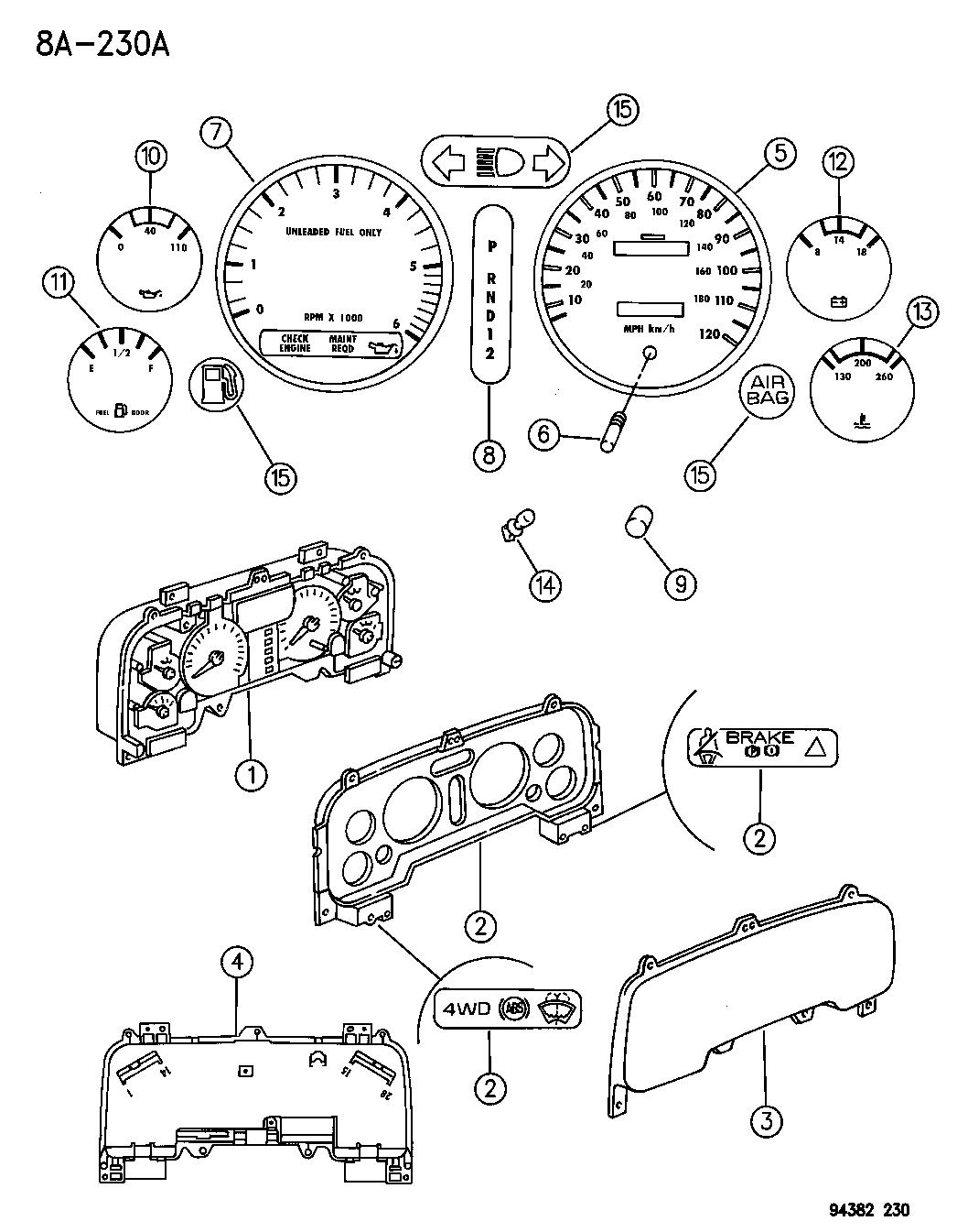 1994 dodge ram 2500 instrument panel cluster