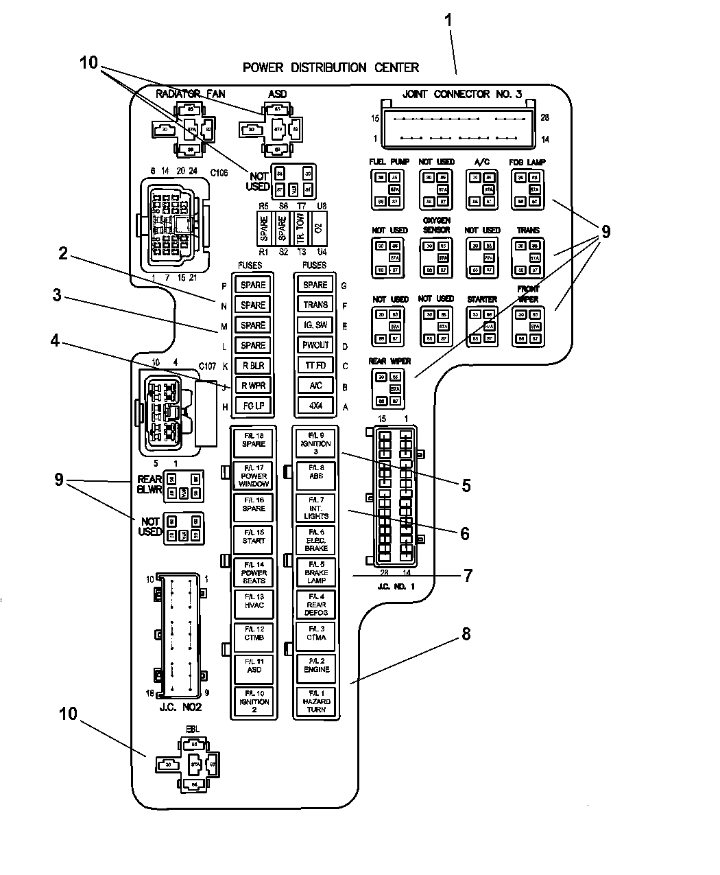2002 dodge dakota power distribution center relay \u0026 fusesDakota Fuse Diagram #18