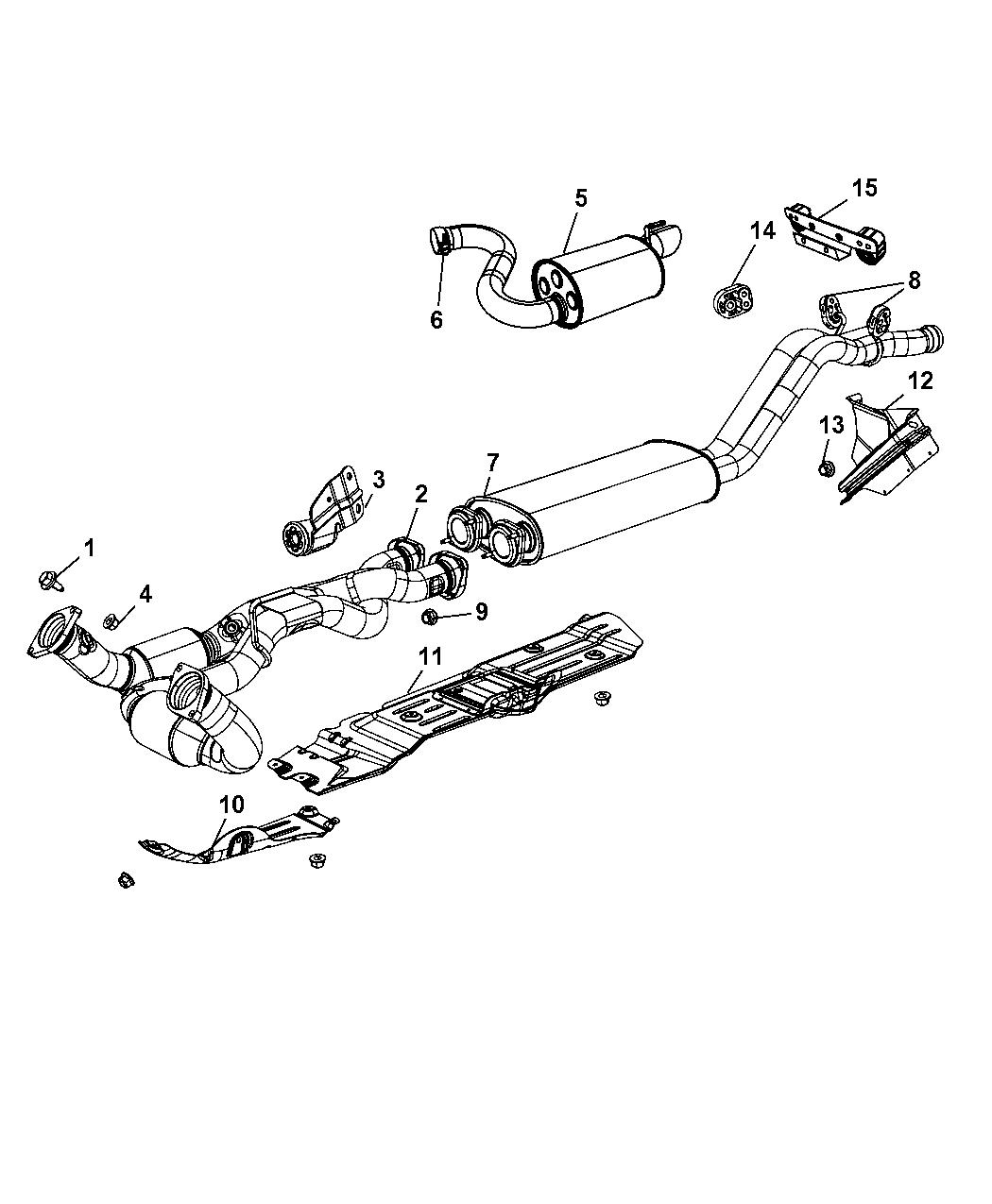5290726aa Genuine Jeep Muffler Exhaust System Diagram 2008 Grand Cherokee