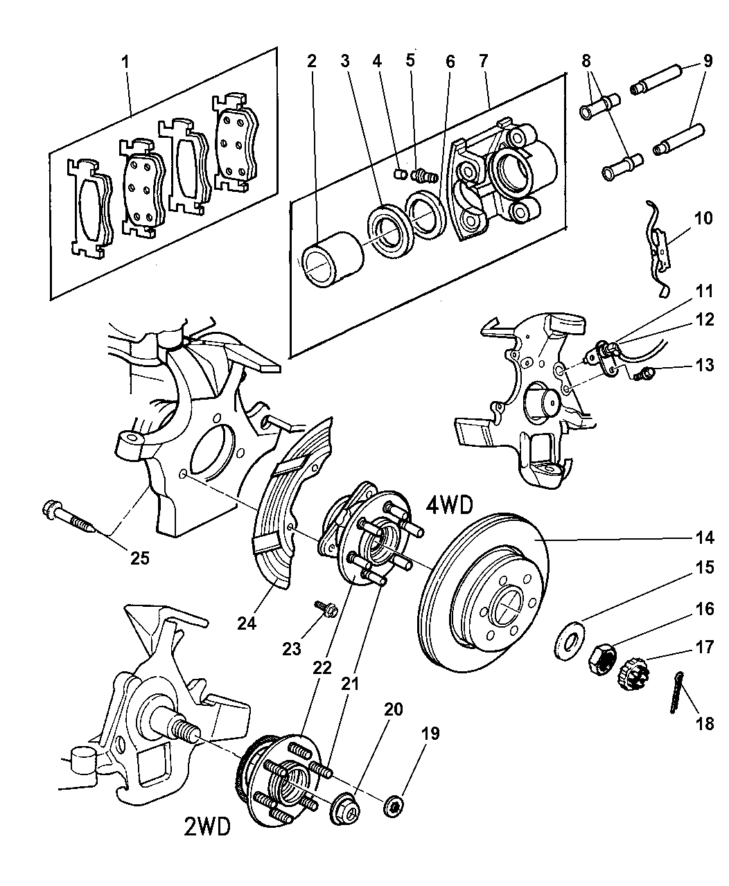 2000 dodge durango brakes  front
