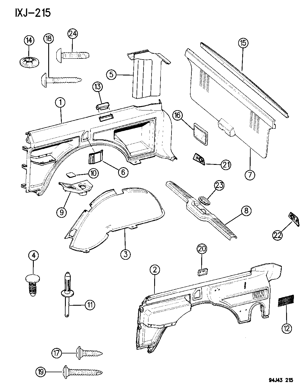 1996 jeep cherokee interior parts