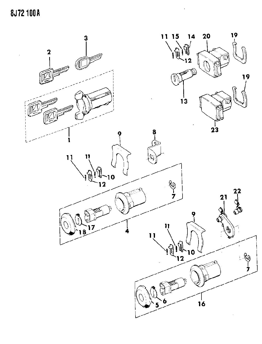 1987 Jeep Wrangler Cylinders U0026 Keys
