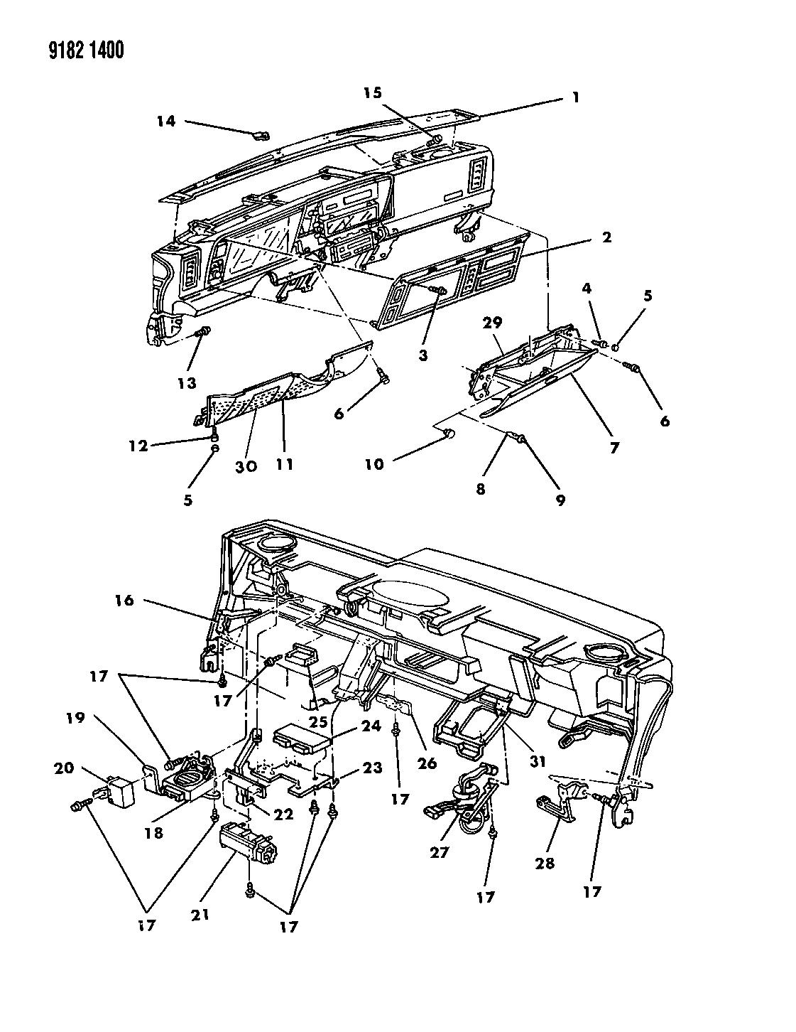1989 Chrysler Lebaron Gtc Instrument Panel Bezels Glovebox And Wiring Diagram Controls