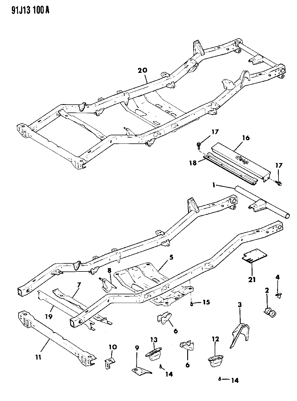 1992 jeep wrangler frame