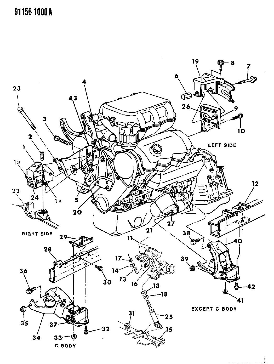 5272119 Genuine Mopar Bracket Engine Mount Dodge Caravan 2 4l Diagram 1991 Mounting