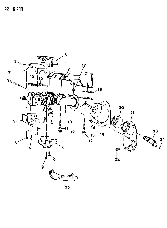 1992 Chrysler LeBaron Sedan Column, Steering, Upper And Lower