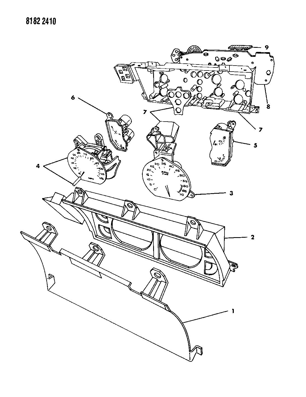 1988 dodge daytona instrument panel cluster