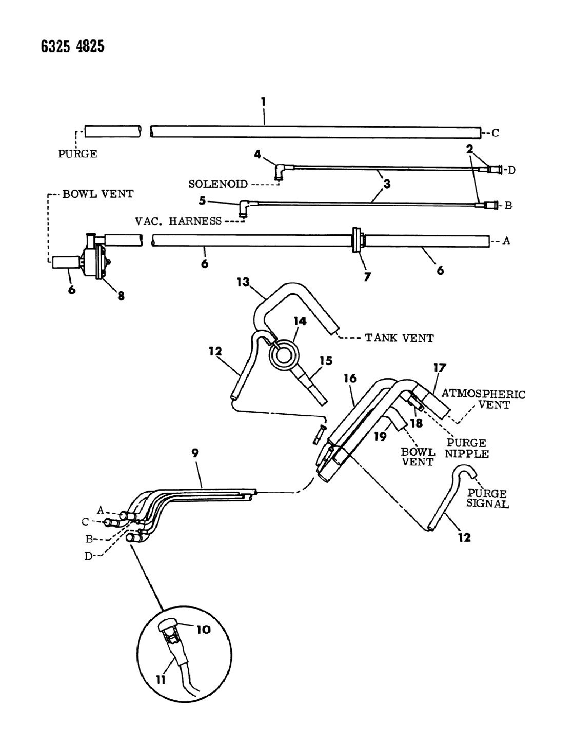 1987 Dodge Dakota Vapor Canister Hose Harness Mopar Parts Giant 87 Wiring Diagram Thumbnail 1