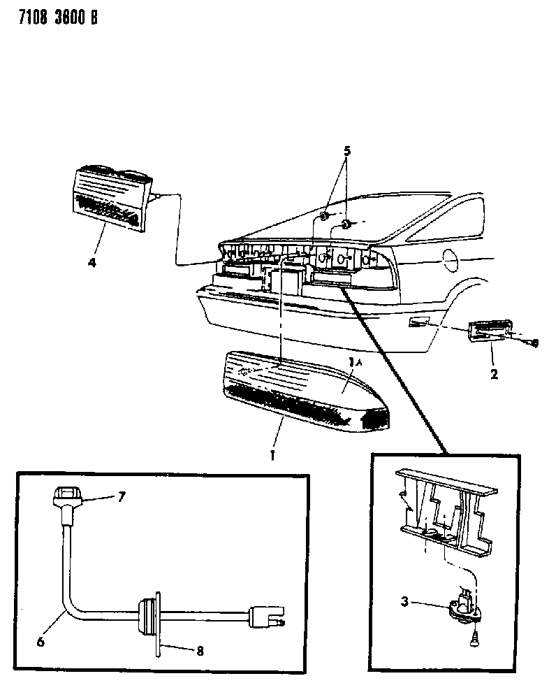 1987 dodge daytona lamps & wiring - rear