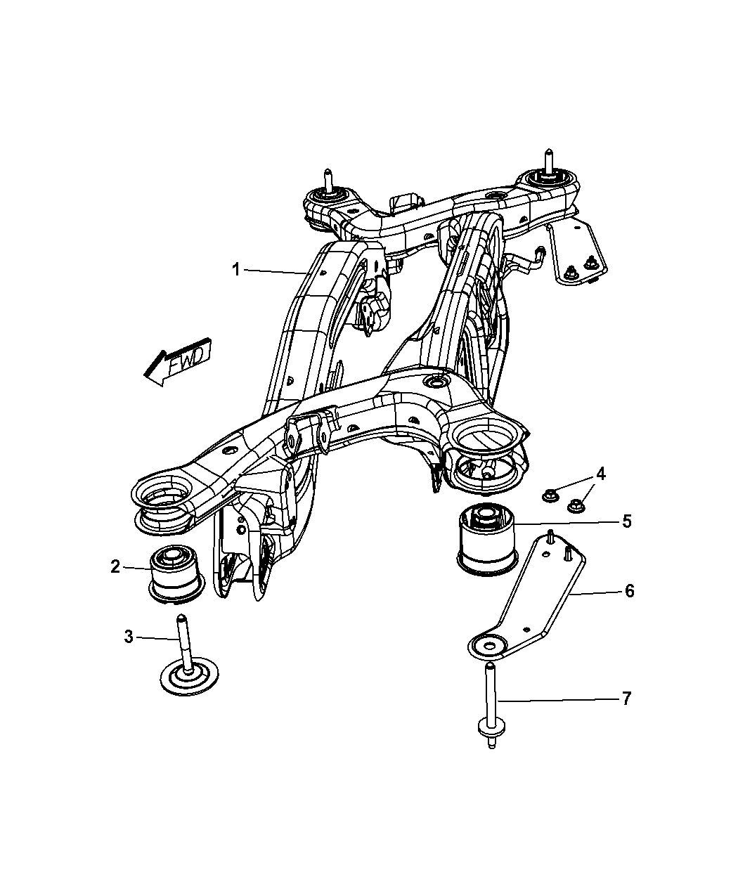 2013 Chrysler 200 Crossmember  Rear Suspension