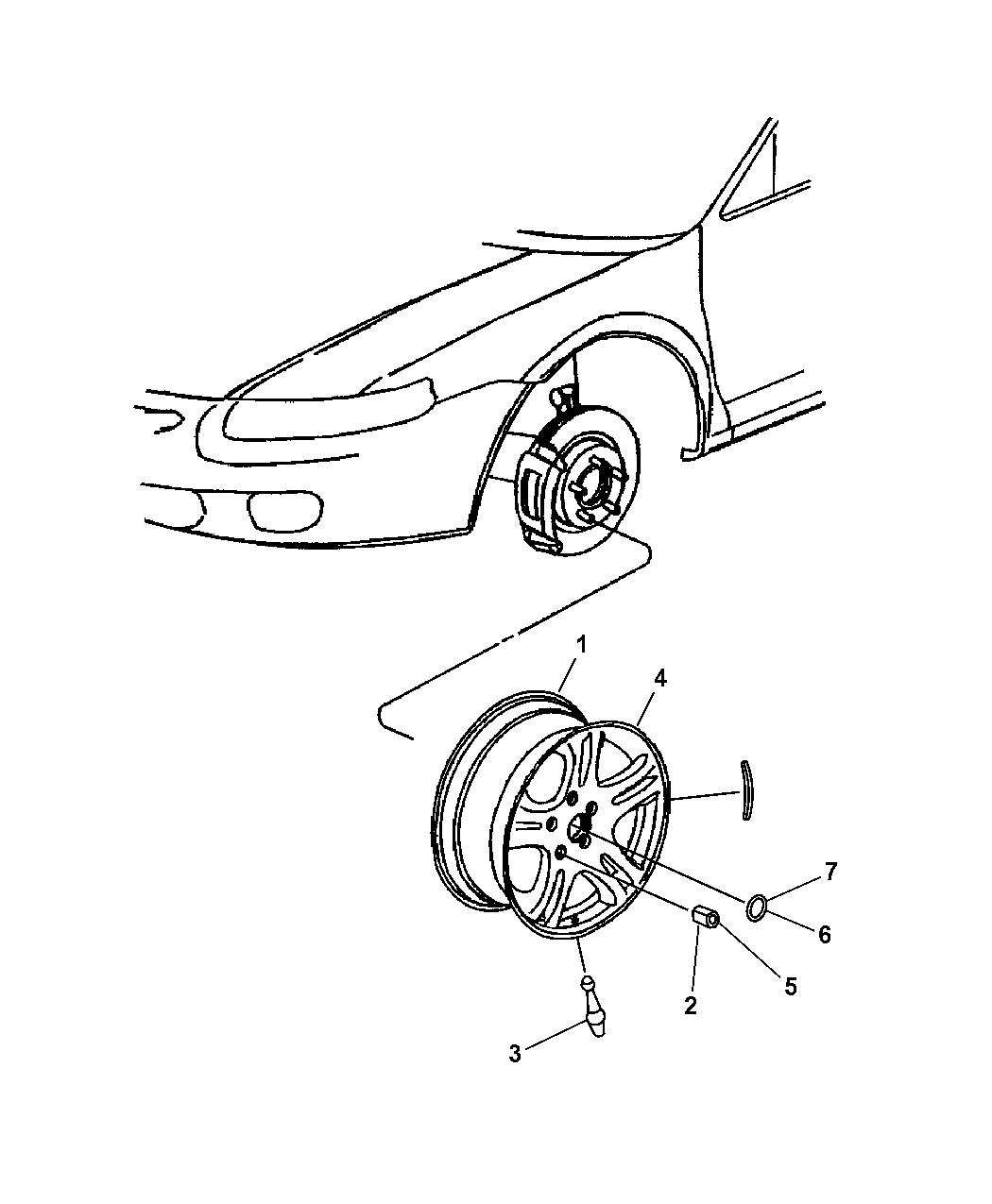 2001 Chrysler Sebring Sedan & Convertible Wheels & Hardware