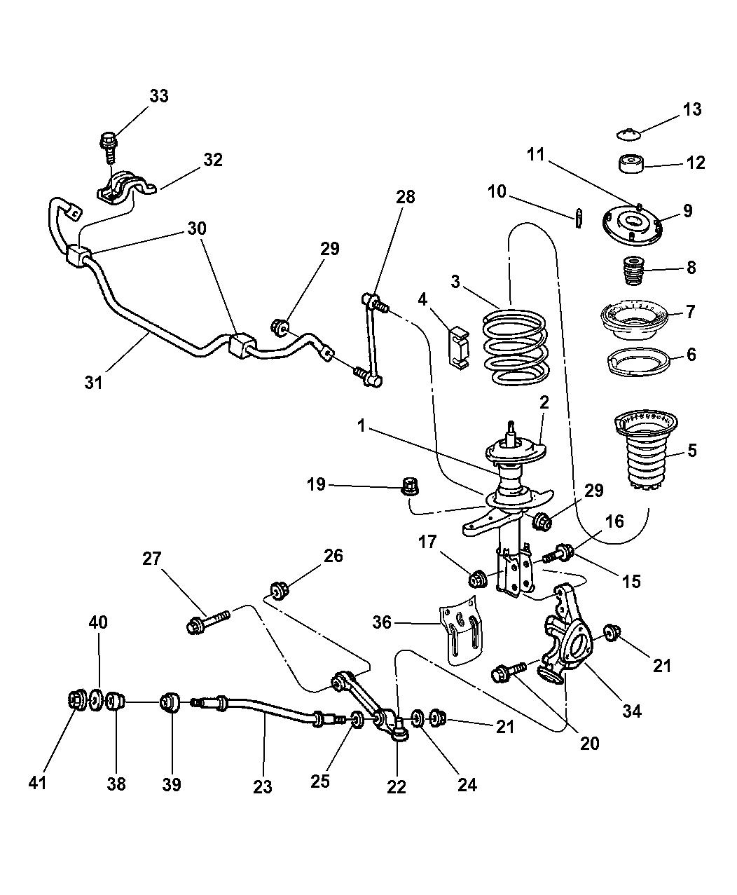 2002 chrysler 300m suspension - front
