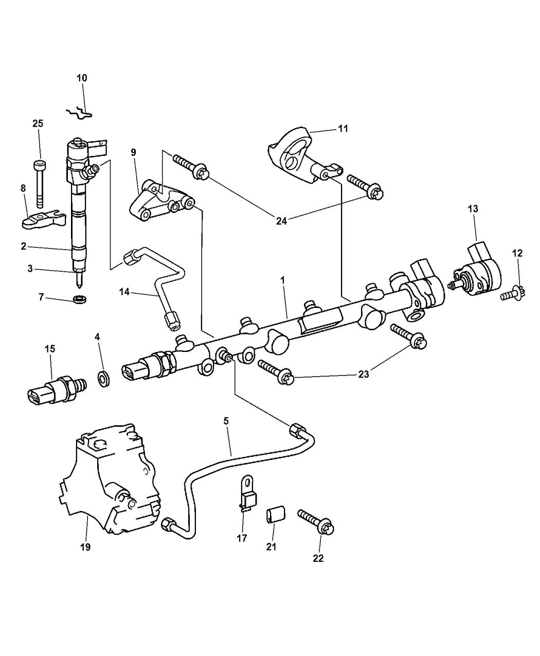 2008 chrysler pt cruiser fuel rail injectors rh moparpartsgiant com 3 8 L Engine Chrysler 2002 Town Country Chrysler 2.5 V6 Engine Diagram