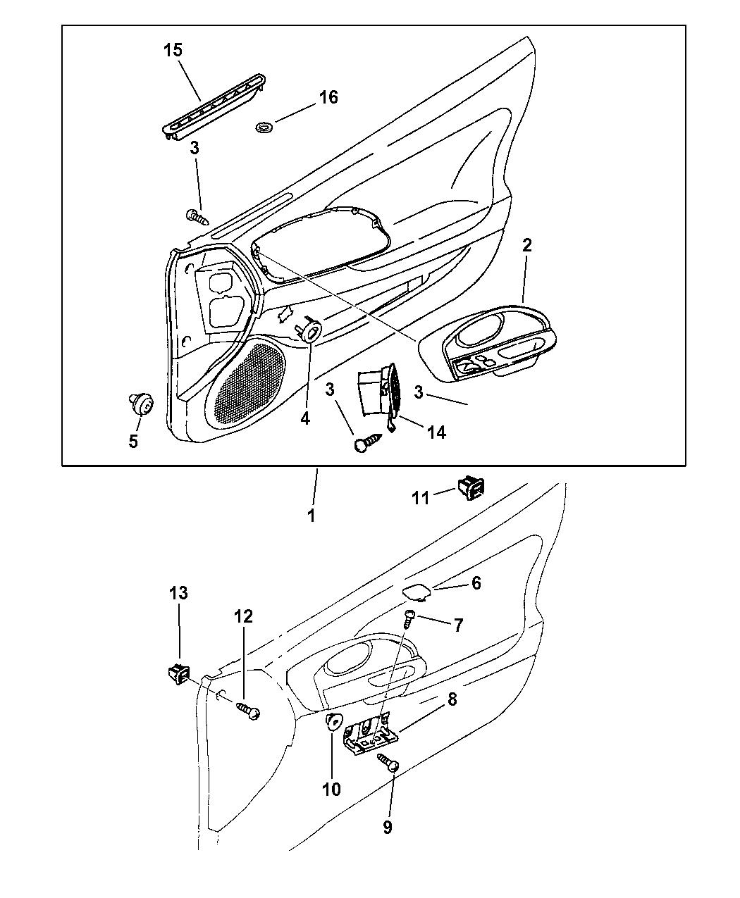 1999 Chrysler Sebring Coupe Front Door Panels Mopar Parts Giant