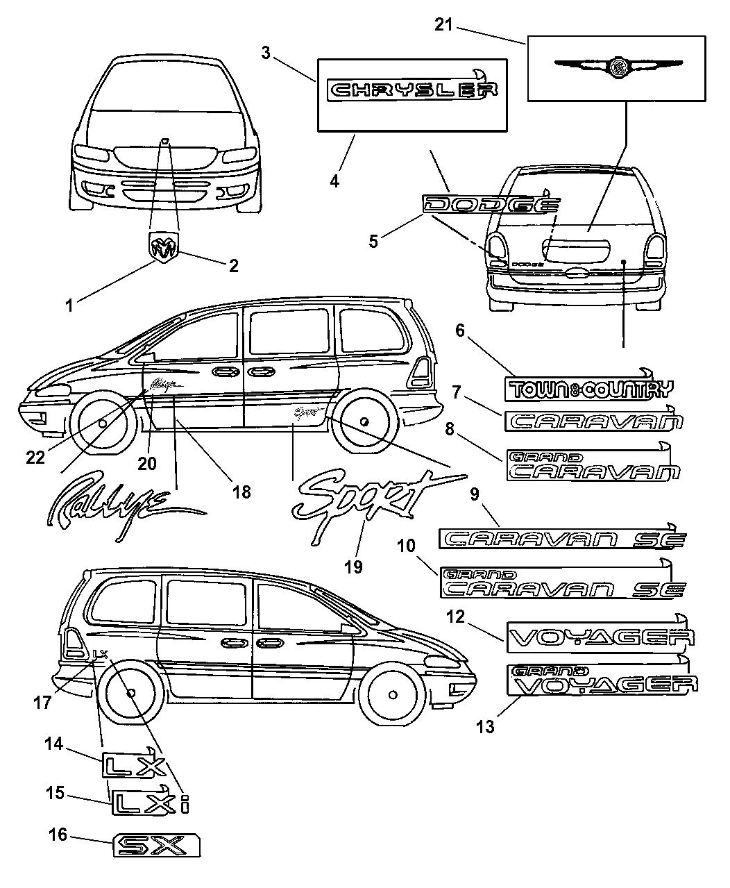 1999 Dodge Caravan Nameplates