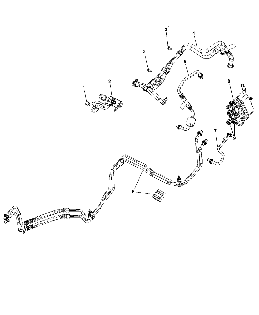 68244058AB - Genuine Mopar TUBE-OIL COOLER PRESSURE AND RET