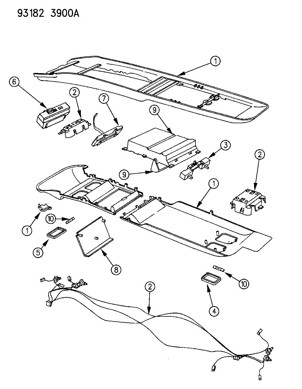 1993 dodge grand caravan console  overhead