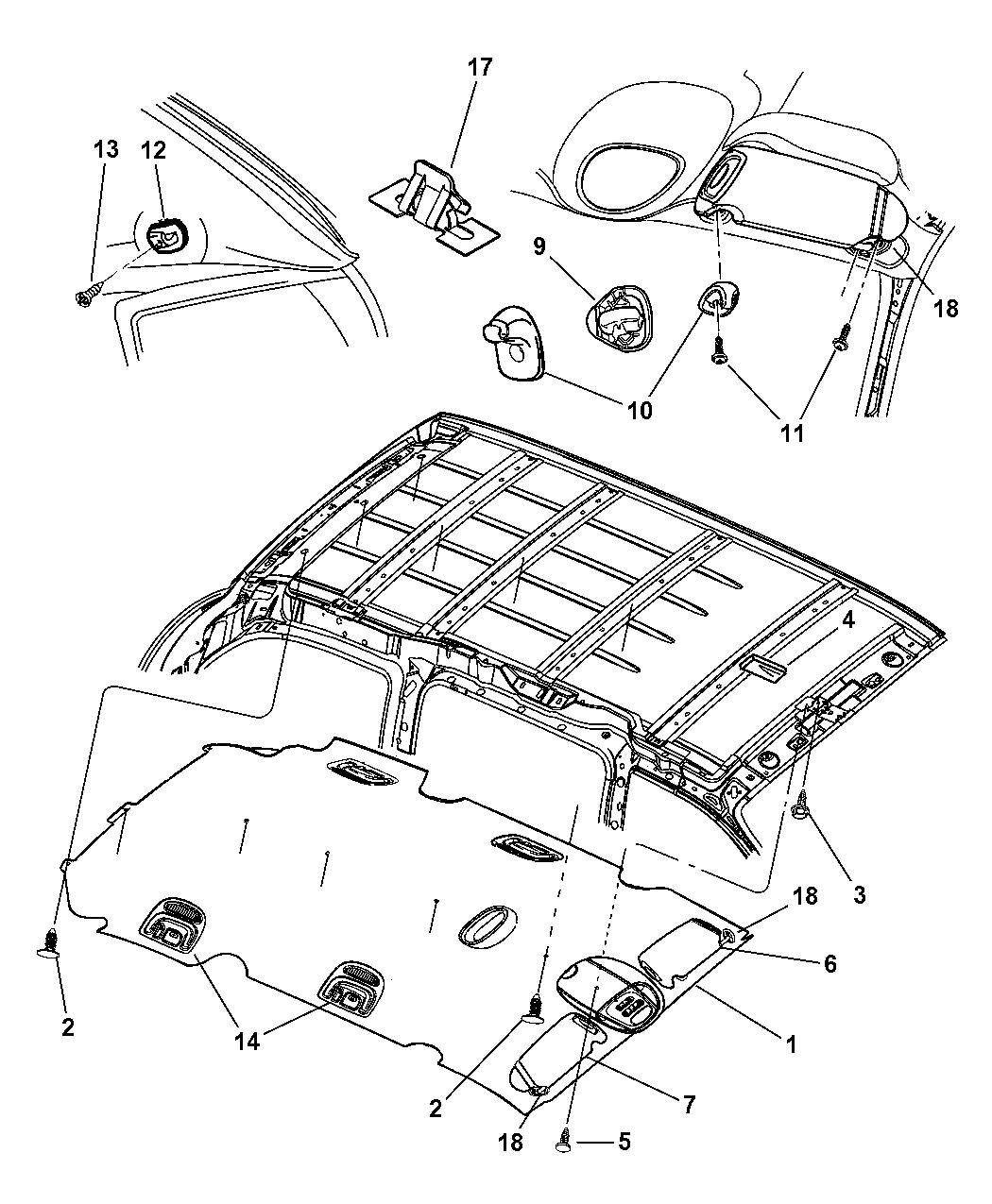 2001 Chrysler Town & Country Headliner & Visor