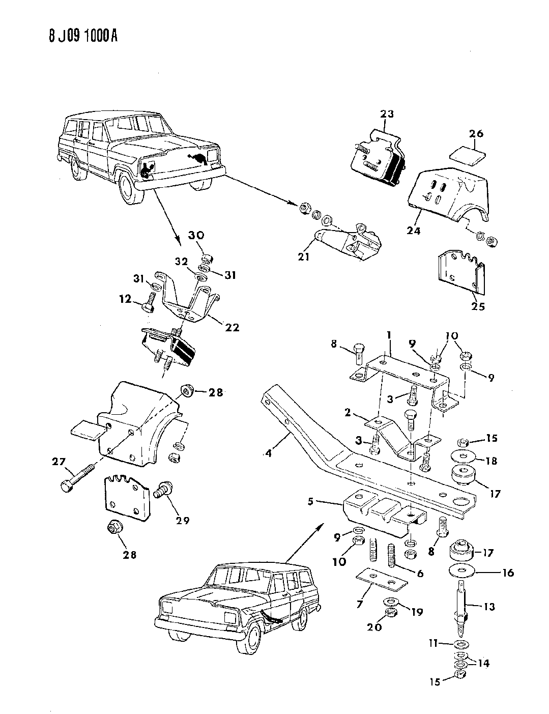 1987 Jeep J20 Engine Mounting - Mopar Parts Giant Jeep J Wiring Harness Diagram on jeep jk wiring harness, jeep grand cherokee wiring harness, jeep cj5 wiring harness, jeep grand wagoneer wiring harness, jeep cj7 wiring harness, jeep commando wiring harness,