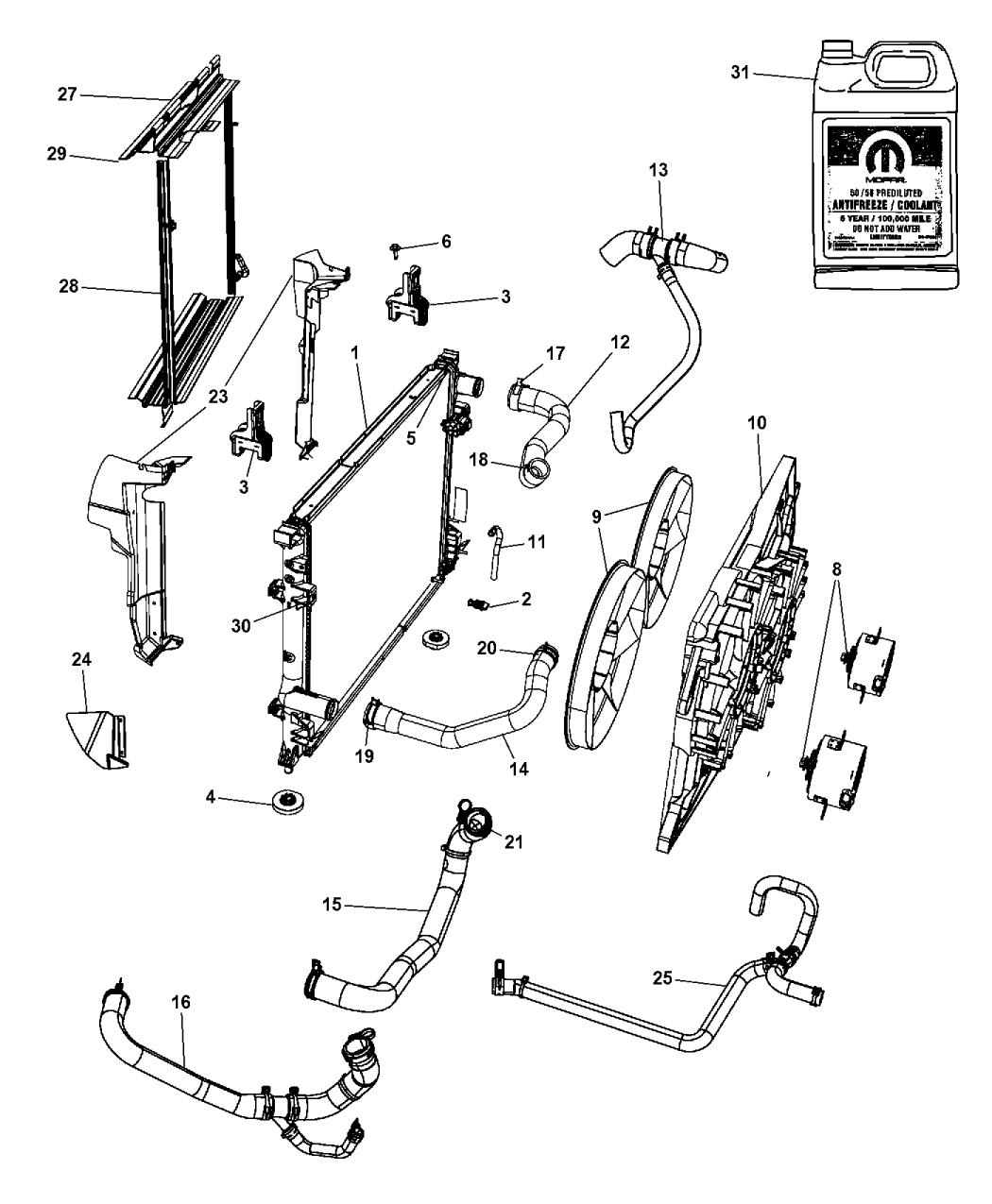 55038120AA - Genuine Dodge HOSE-HEATER RETURN