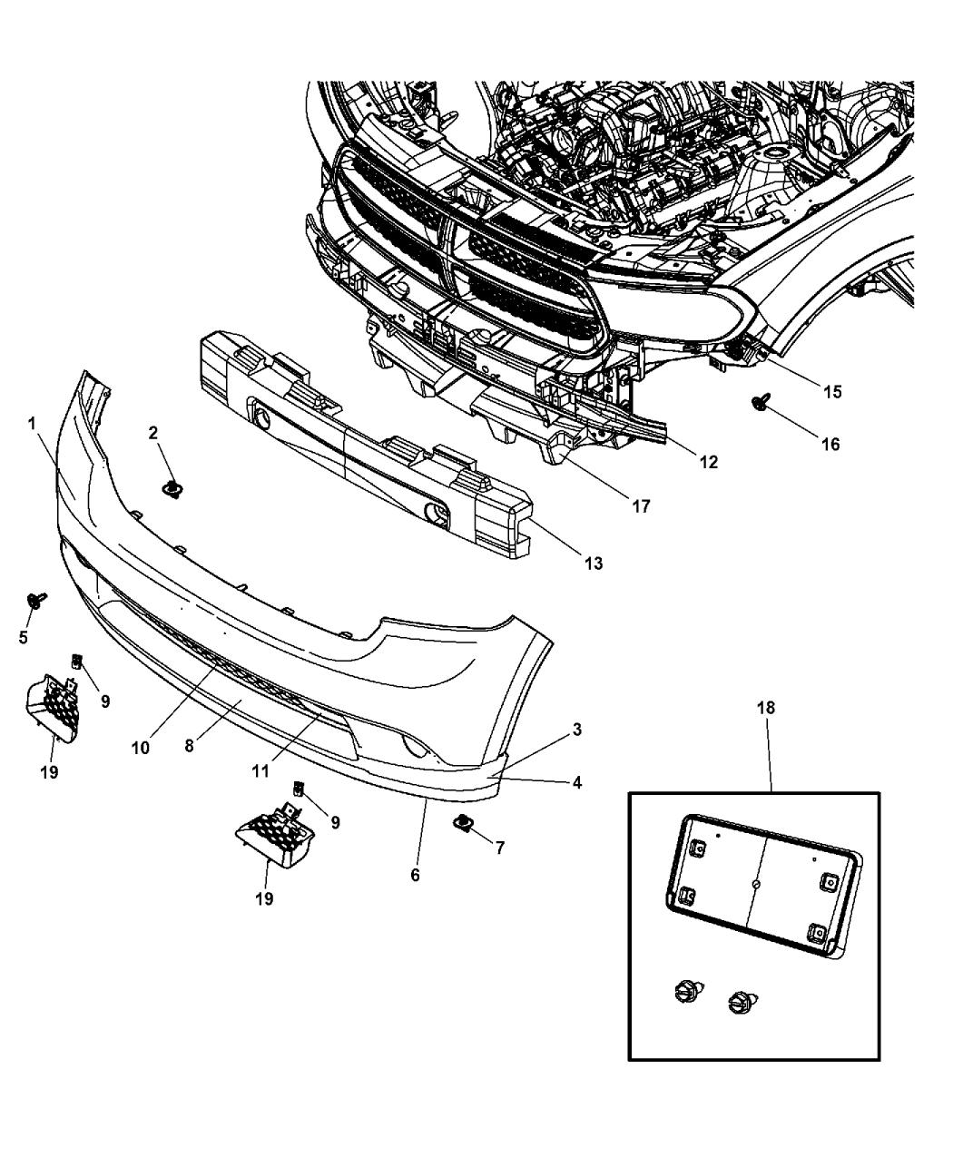68089170AB - Genuine Dodge GRILLE-FASCIA