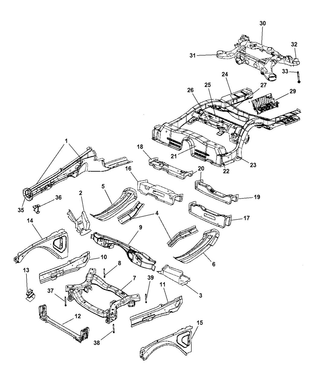 2017 Dodge Charger Frame, Complete - Mopar Parts Giant