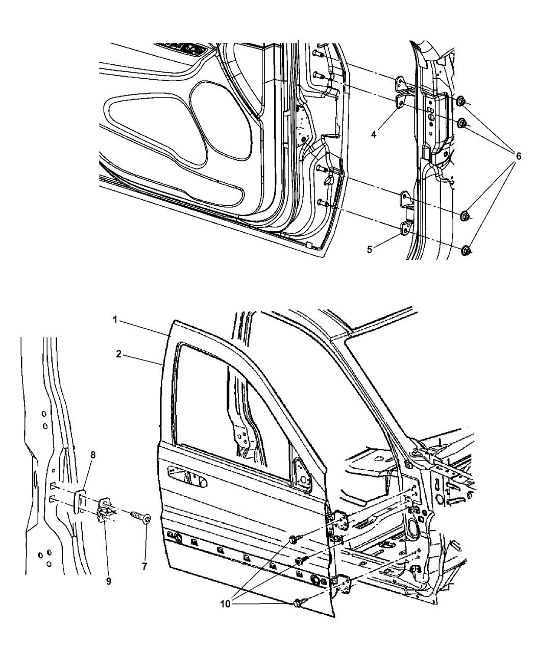 2014 Dodge Durango Front Door, Shell & Hinges - Mopar Parts