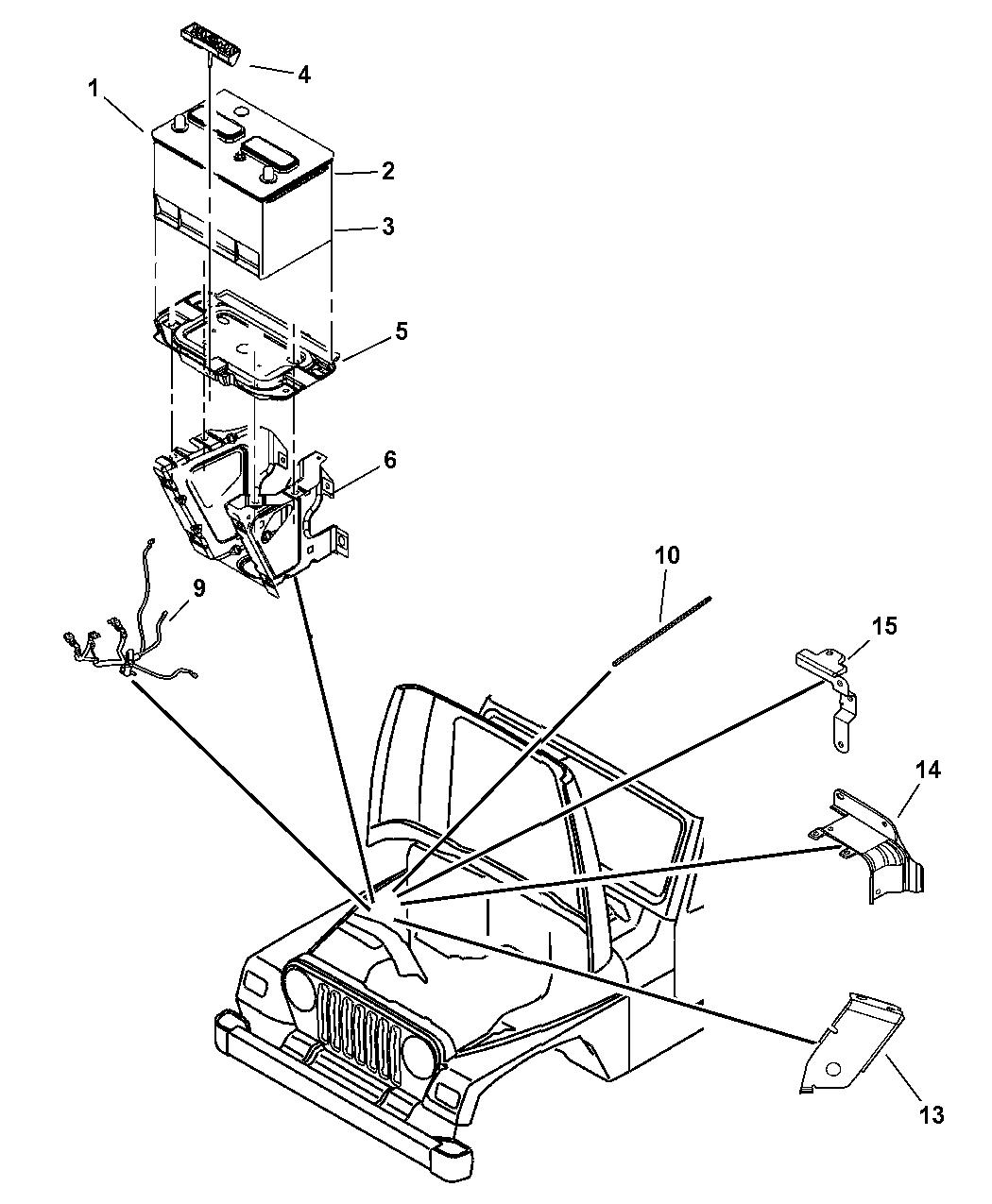 2006 jeep wrangler battery tray  u0026 cables