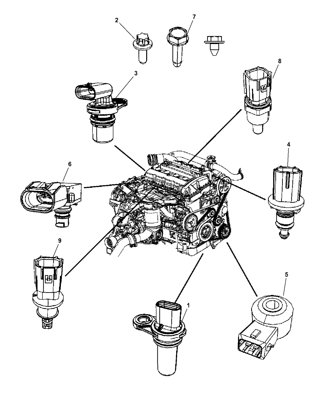 2008 jeep patriot sensors - engine