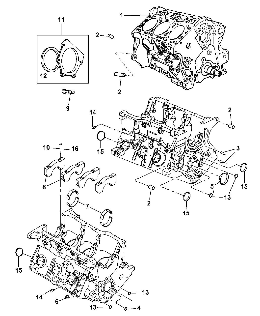 2010 Jeep Wrangler Engine Cylinder Block Hardware Yj Diagram Thumbnail 1