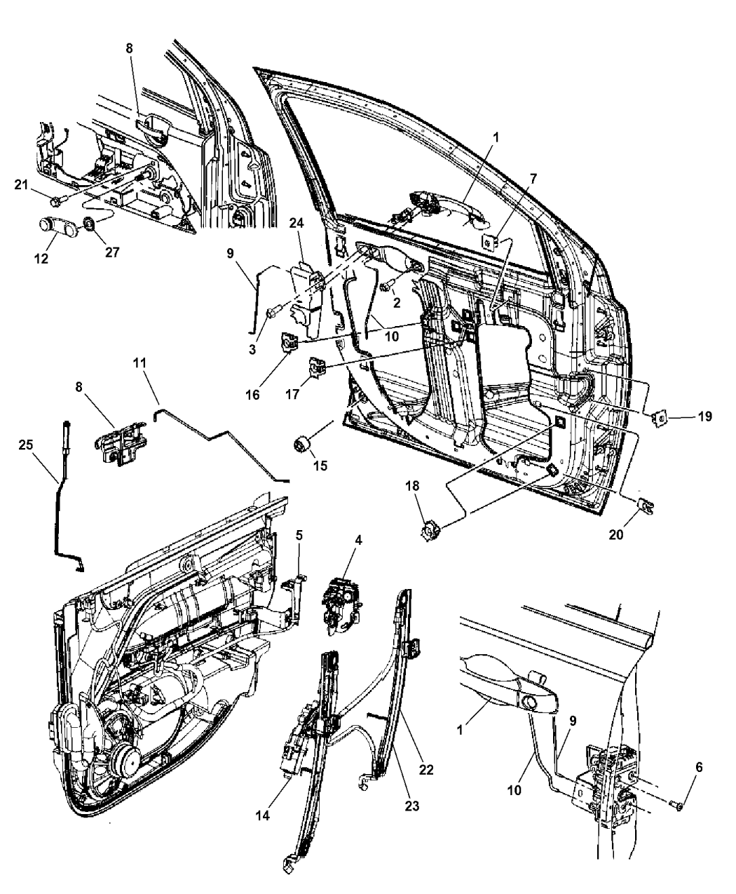 2014 jeep patriot front door  hardware components