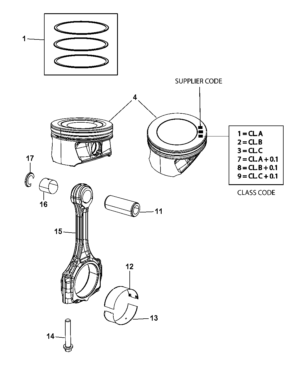 2011 Dodge Journey Pistons, Piston Rings, Connecting Rods & Connecting Rod  Bearing