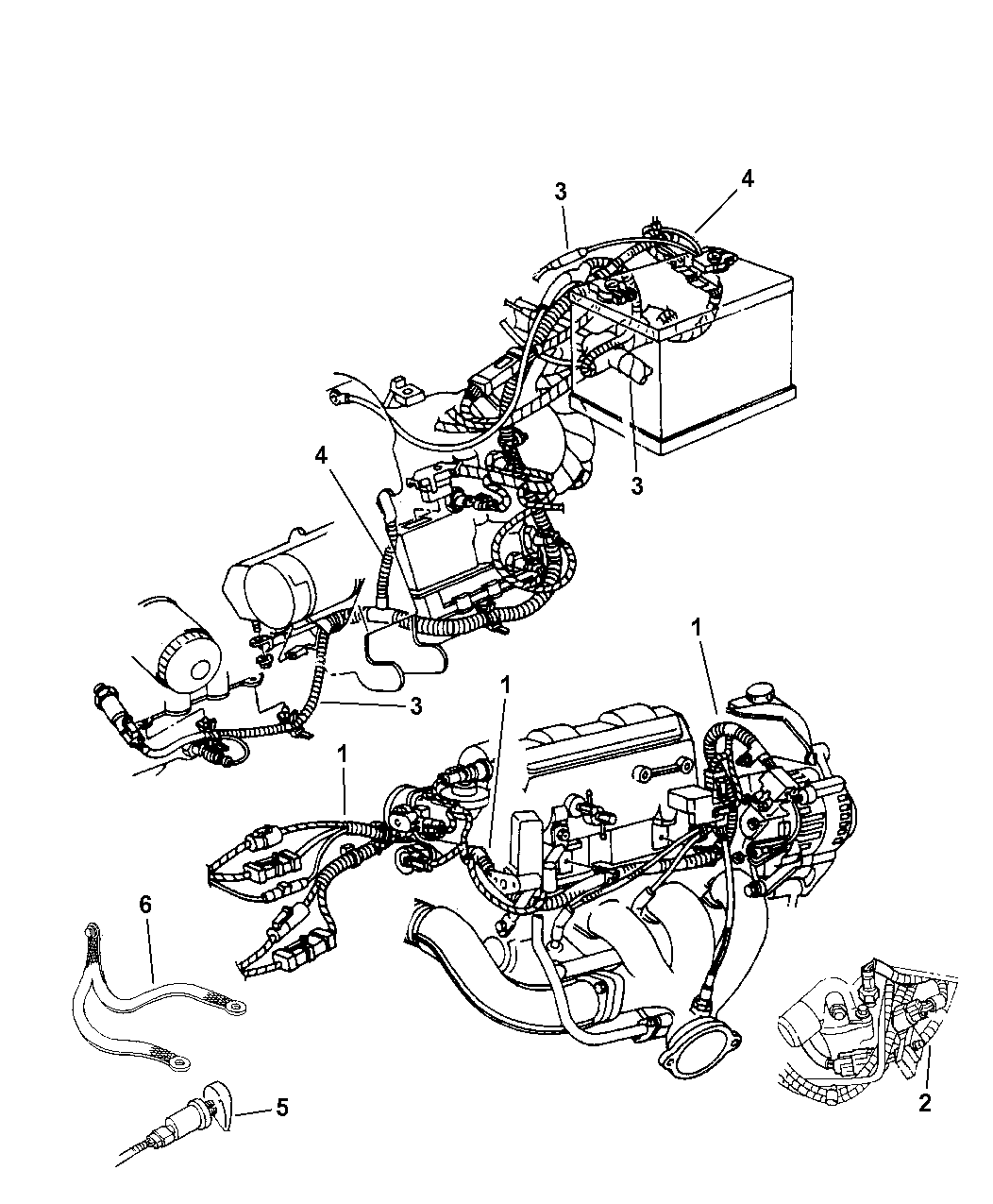 2001 Chrysler 300m Wiring Engine Related Parts Diagram