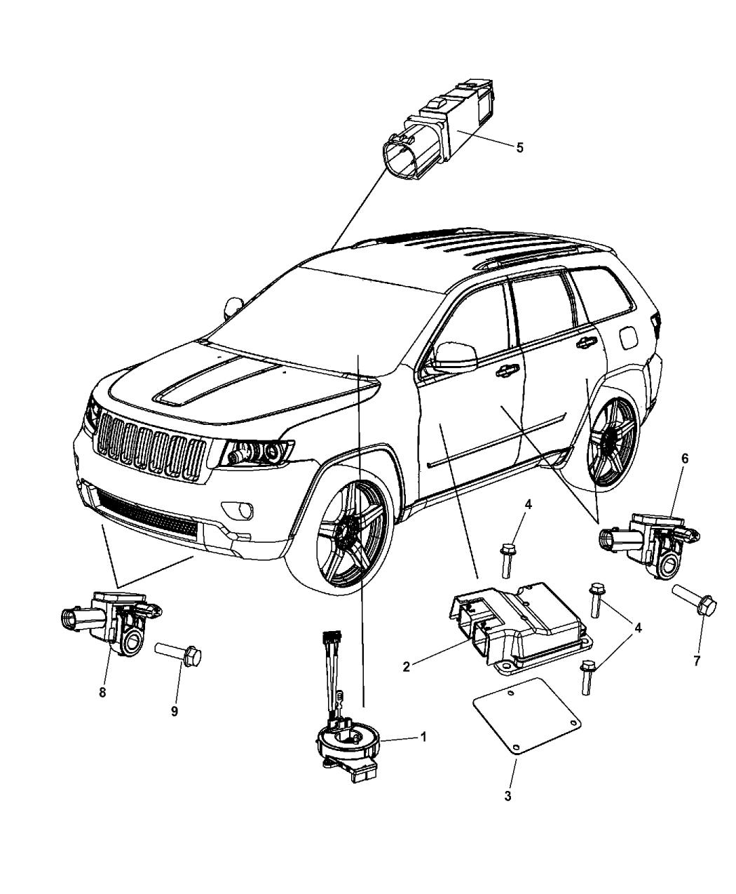 2012 Jeep Grand Cherokee Air Bag Modules Impact Sensor