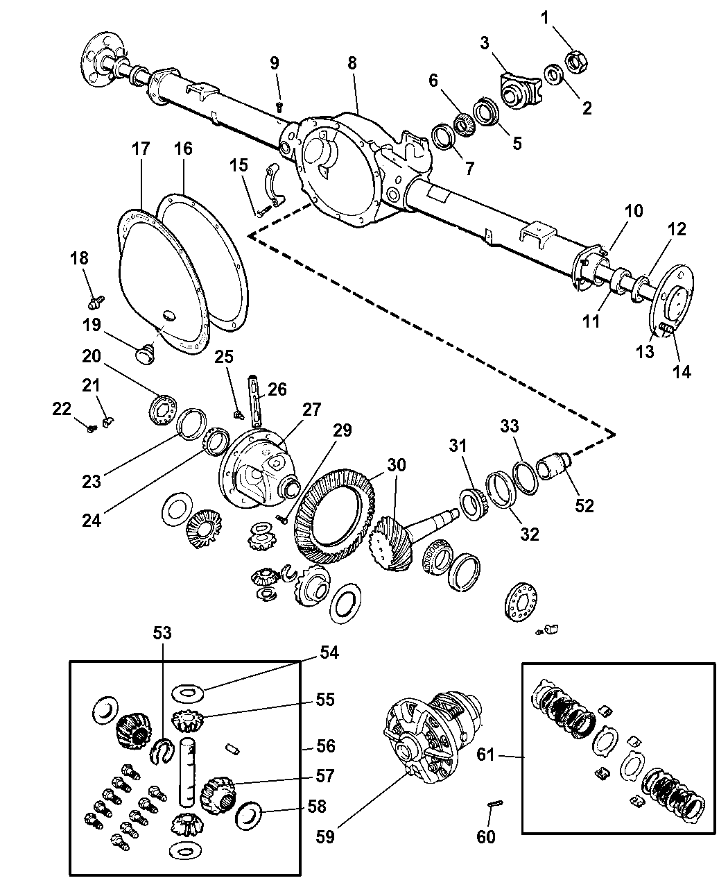 2003 Jeep Liberty Axle, Rear, With Differential And Housing