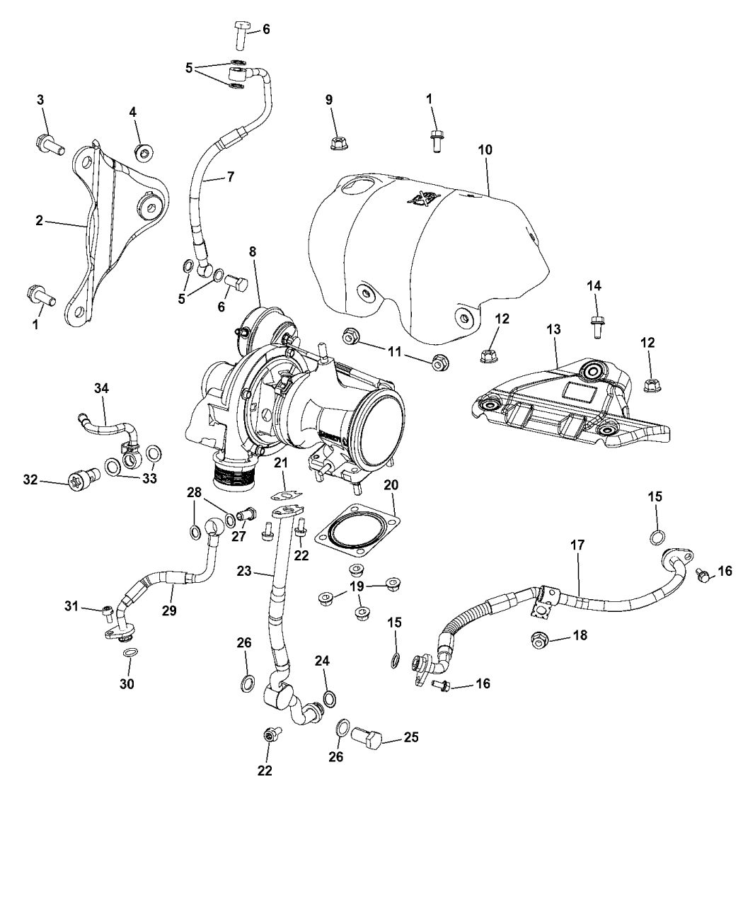 2013 Dodge Dart Turbocharger & Oil Hoses/Tubes