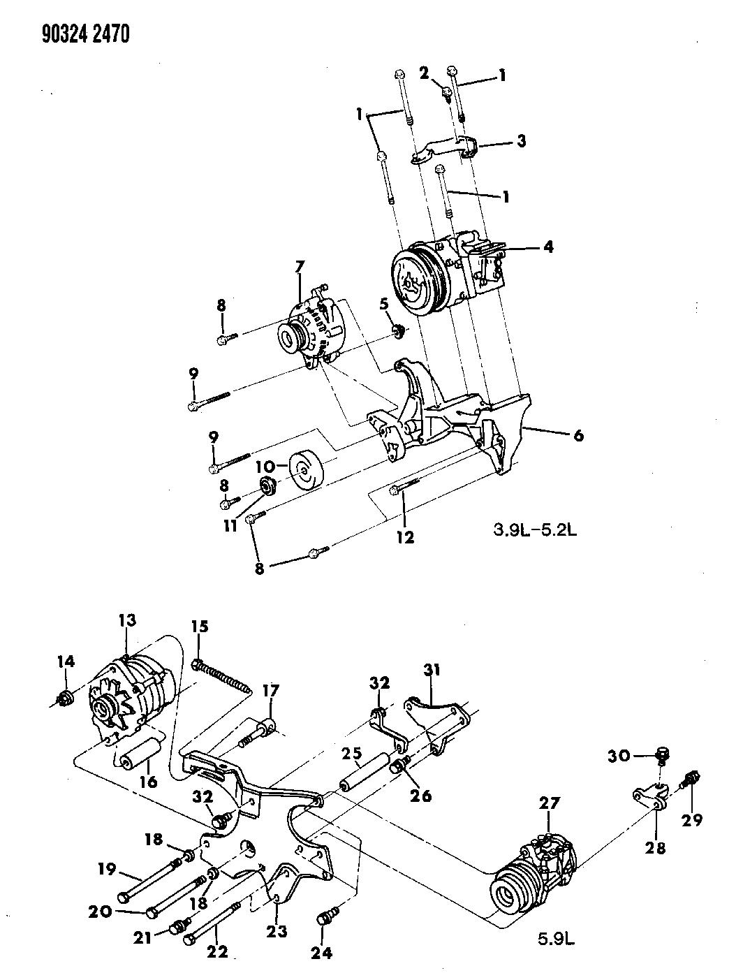1993 Dodge W250 Mounting - A/C Compressor - Mopar Parts Giant on