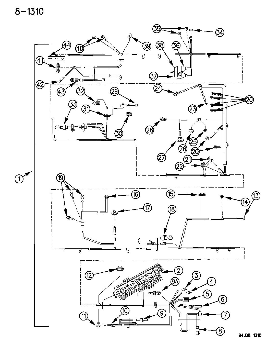 1995 jeep cherokee wiring headlamp to dash mopar parts. Black Bedroom Furniture Sets. Home Design Ideas