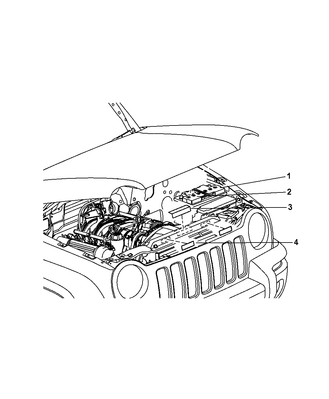 2008 Jeep Wrangler Engine Compartment Mopar Parts Giant Diagram