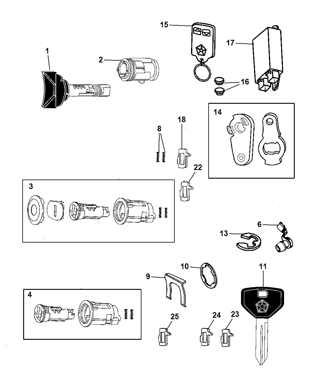 1999 Dodge Ram Van Lock Cylinders & Components