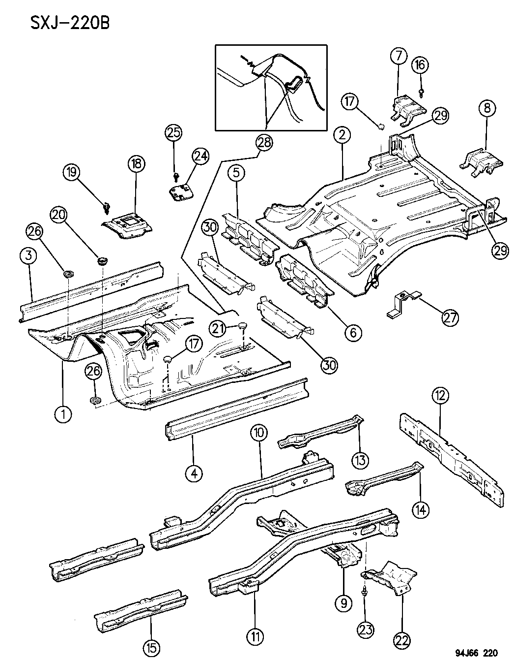 1996 jeep cherokee pans  floor