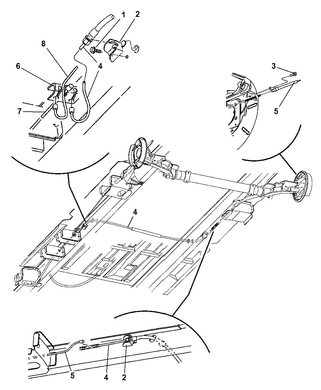 2005 dodge grand caravan cables, rear, parking brake - thumbnail 1