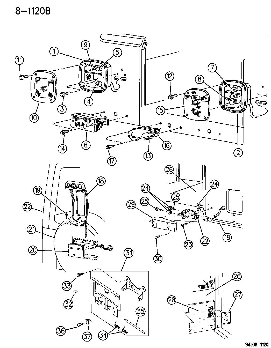 1995 Jeep Wrangler Lamps Rear Mopar Parts Giant 95 Engine Schematics